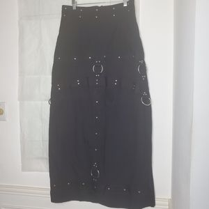 MACGIRL Skirt Black Vintage Goth Punk Metal, Jr M